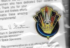 NASA OFFICIAL SPACE SHUTTLE PROGRAM COMMEMORATIVE PIN W/CERT CONTAIN SPACE FLOWN