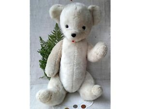 Big Vintage White Jointed Bear Antique Plush Teddy Soviet 70s Russian Old Toy