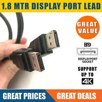 1.8m DisplayPort Cable Plug to Plug HD Lead Display Port- FAST SHIP, VAT Inc