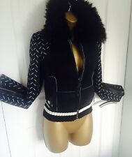 GIANNI VERSACE FAUX FUR COLLAR LUXURY BLACK ZIP JACKET BNWT UK 10-12 RP £2,750!