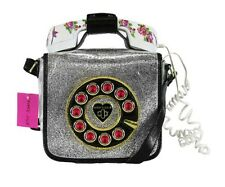 **BETSEY JOHNSON OFF THE HOOK Silver Faux Leather Phone Crossbody Bag Msrp $108