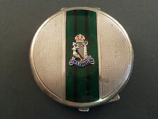 ROYAL ULSTER RIFLES SILVER AND ENAMEL SWEETHEART POWDER COMPACT