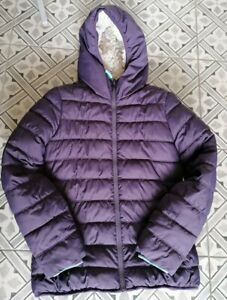 Boden Johnnie B Girls Age 13-14 Purple Quilted Coat Faux Fur Lined Hooded