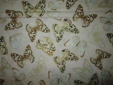 Butterfly Metallic Gold Light Tan Butterflies Cotton Fabric BTHY
