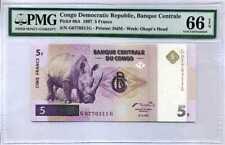 Congo 5 Francs 1997 P 86A Gem Unc Pmg 66 Epq