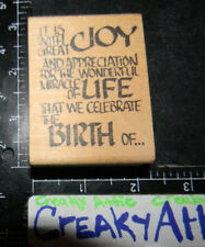 GREAT JOY MIRACLE LIFE CELERATE BIRTH OF RUBBER STAMP AFFAIR MAINE STREET