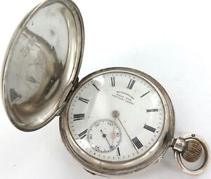 1911 ROTHERHAMS PRIVATE LABEL ENGLISH STERLING SILVER MENS POCKET WATCH.