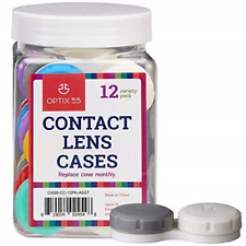 Contact Lens Cases, 12 Pack – Assorted Separate Colors for Left/Right Eyes – -
