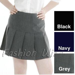 Girls Pleated School Skirt Drop Waist Grey Black Navy Ladies Ages 5-16 Size 6-24