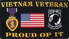 VIETNAM VETERAN PROUD OF IT   Iron-On Patch POW-MIA Purple Heart USA Flag