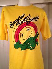 Vintage 1970s NEW The Sunrise Yogurt Shoppe T-Shirt Youth Large Yellow NOS XS