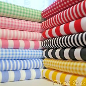 Candy Stripes Mini Gingham / Checks 100% COTTON Poplin Fabric per Half Metre FQ