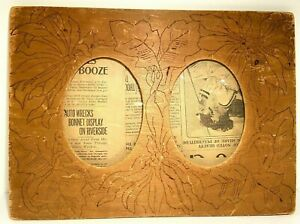 Antique Folk Tramp Art Wood Frame American Hand Made Double Picture Wood Burned