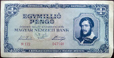 Hungary banknote - 1000000 pengo - 1945 - post-war hyperinflation -Lajos Kossuth