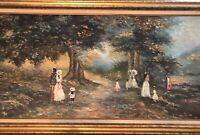 antique impressionist LARGE oil painting on Canvas, Framed ,and Signed