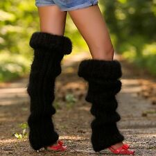 SUPERTANYA Hand knitted mohair spats Thick BLACK Fuzzy GAITERS soft leg warmers
