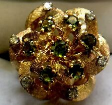 VINTAGE 14K SOLID YELLOW GOLD GREEN PERIDOT (AUGUST) AND GENUINE DIAMONDS RING