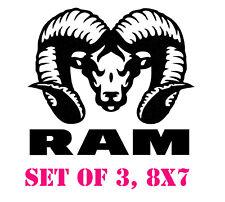 Hemi Power Dodge Ram Head Truck Decals Mopar Stickers Set of 3 8x7 in
