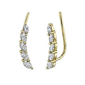 14K Yellow Gold Marquise Diamond Ear Crawler Earrings Natural Certified 0.44CT