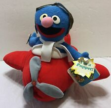 VTG NWT Super Grover Airplane Applause Puppet Sesame Street Jim Henson Childrens