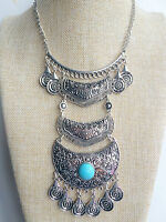 Silver Tibet Boho Chic Vintage Style Bohemian Mexican Gypsy Tassel Necklace