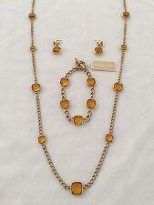 MICHAEL KORS Station GoldT/Yellow Necklace/Bracelet/Earrings Set MKJ4238 $395