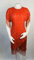 Vintage 80s Womens Medium Red Silk Beaded Dress Tiered Fringe Tassels Flapper