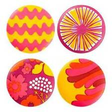 Marimekko for Target Set 4 Salad Plates Pink Yellow Orange Melamine NEW (HAVE 3