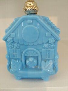 Vintage Avon Blue House With Bird Decanter