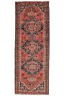 Vintage Persìan Hamadan Runner 3'x10' Red Wool Hand-Knotted Oriental Rug