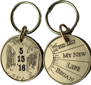 Personalized Engraved Sobriety Date Keychain Coin Sober AA NA Sobriety Gift