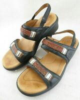 Ariat Black Brown Leather Weaved Open Toe Slingback Sandals Women's US 10 B