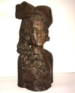 Balinese Woman Klungkung wooden Bust Vintage Indonesian Hand Carved!!!