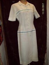 5436e838407e6 Vintage 1950's 60's White Linen Blue Stripe Day Dress by B. H. Wragge Medium