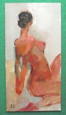 Original Impressionist Oil Painting Nude Stretching Arms by Alexei Petrenko: