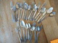 Lot of 27 + Vintage Misc Flatware Mixed  Forks Spoons - flea market decor