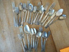 Lot of 27 + Vintage Misc Flatware Mixed  Forks Spoons - flea market decor