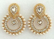 Bollywood Indian Gold Pearls Wedding Bridal Party Ethnic Jewellery Earrings