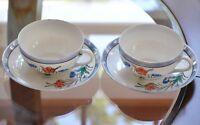 2 Cup & Saucer Sets Fine China Floral Orange Blue Flower Porcelain Vintage Japan