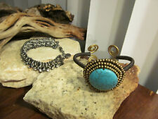 Vintage Abercrombie & Fitch Linked Howlite Turquoise Cuff Two Bracelets