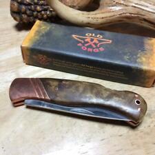 Old Forge Burl Wood Lockback Copper Bolster 3 1/4