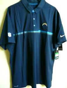 NFL Nike Los Angeles Chargers Football Polyester/Spandex Polo Shirt XL 746131