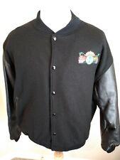 BNSF Railway Mens Varsity Winter Jacket XL Wool Leather Sleeves Black Pockets