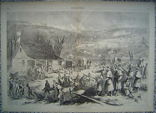 BATTLE AS SEEN BY THE RESERVE Thomas Nast Civil War Original Engraving 1862