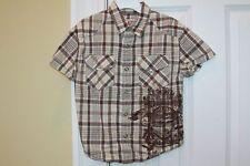 Mossimo Supply Co. ~ Boys Short Sleeved Brown Plaid shirt  ~ Size 4 5  EUC