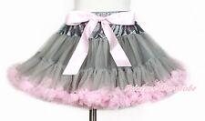 Gray Light Pink Bow Pettiskirt Dance Party Dress For Girl Adult Women Lady