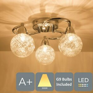 Modern Semi-Flush Ceiling Light, 3x4 Watts LED Bulbs Included Warm White (3000K)