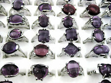 Wholesale Jewelry Lots 10pcs Fashion Silver P Amethyst Stone Rings free shipping