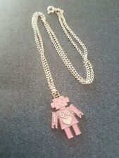 """Pink Robot Heart Necklace Handmade 18"""" Silver Plated Chain PrettyGirly Disney"""