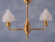 1:12 Scale Hanging Gold Ceiling Double Light With White Tulip Shades DE070